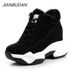 Jianbudan inverno quente das mulheres sapatos casuais de pele de pelúcia tênis de moda ao ar livre de algodão de pelúcia sapatos de inverno de alta superior tênis 34-39