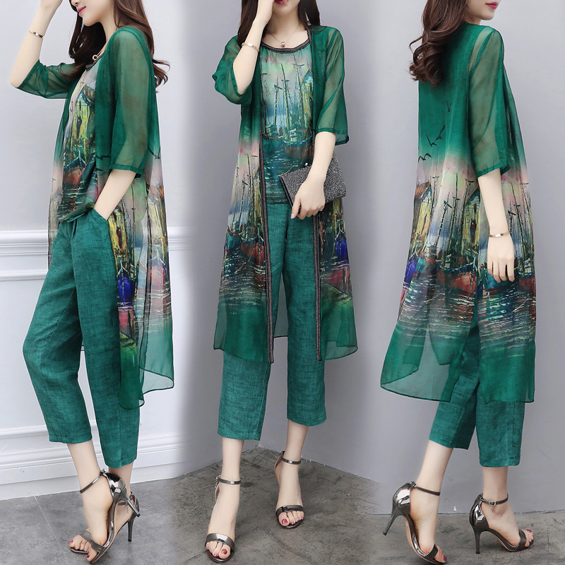 2019 New Style WOMEN'S Dress Summer Wear Three-piece Pants Chiffon Cardigan Tops Capri Pants Large Size Casual Fashion WOMEN'S S