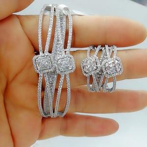 Image 3 - GODKI Luxury 2PCS Dubai Bangle Ring Set Fashion Jewelry Sets For Women Wedding Engagement brincos para as mulheres 2020