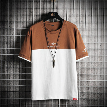 brown\white short sleeve mens trendy tshirt