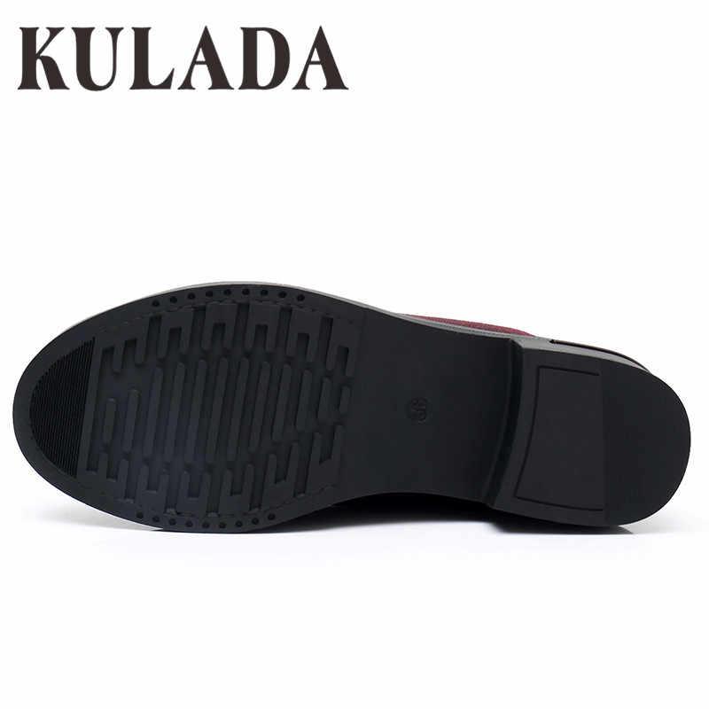 Kulada Mới Nhất Nữ Bơm Thời Trang Bằng Sáng Chế & Da PU Thấp Gót Giày Đơn Thoải Mái Cho Nữ Giày Nữ Zapato Mujer