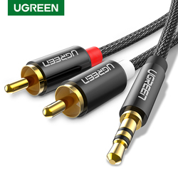 UGREEN 3.5mm to 2RCA Cable Nylon Braided Audio Auxiliary Adapter Stereo Y Splitter Cord for Smartphone Speakers Tablet HDTV MP3