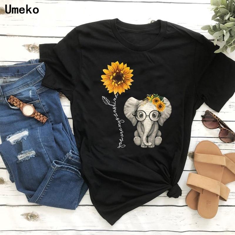 Umeko Elephant Sunflower Print Tshirt Women Casual Short Sleeve O Neck Tee Tops For Female Cartoon Cute T-shirts Femme Clothings