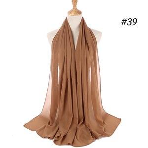 Image 4 - Sartenes de chifón largo para mujer, de Color liso hijab, chal para cabeza para mujer islámica, pañuelo musulmán, envoltura de phasmina 175*70cm