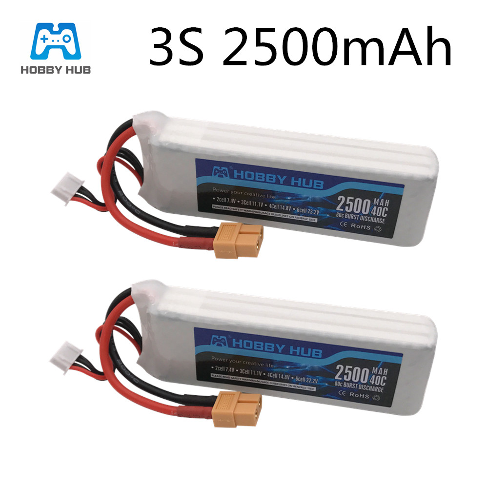 2 pçs/lote Hobby Hub Bateria 11.1V 2500mAh Bateria Para Zangão RC Car Avião Parte 3 40C s 11.1v Bateria Lipo Para X16 X21 X22|Baterias recarregáveis|   -