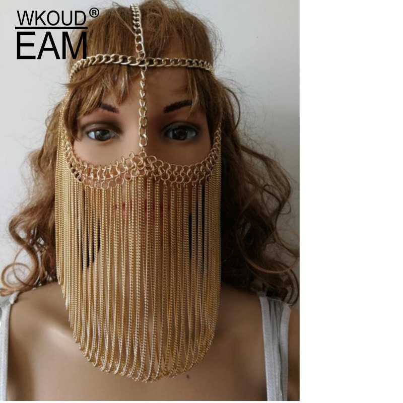 WKOUD EAM Punk Metal Alloy Tassels Personality Sexy Women Head Charm Jewelry Mask 2019 New Female Accessories Party Gift ZJ528
