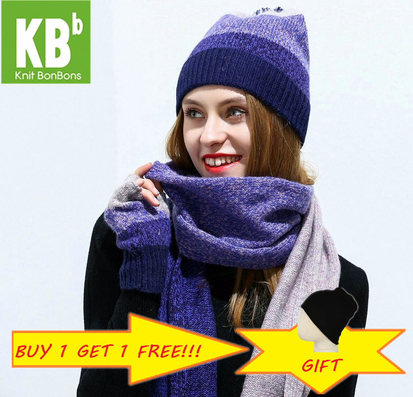 2019 KBB Lambswool Wool Knit Knitted Hat Scarf  Women Winter Warm  Scarf Beanie Gloves Scarf Female Scarves Set Bundle Sets
