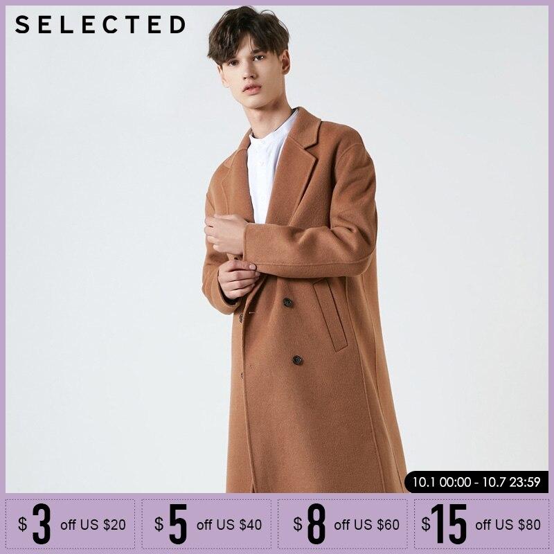 SELECTED Retro Men Winter Autumn Double Breaste Mid Long Wool Coat Jacket| 418427569
