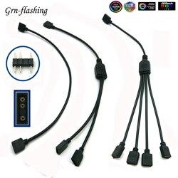 5-24В 3-контактный RGB светодиодный разъем 1 к 1 2 3 4 5 3-контактный разветвитель питания Удлинительный кабель для компьютера материнской платы AURA ...