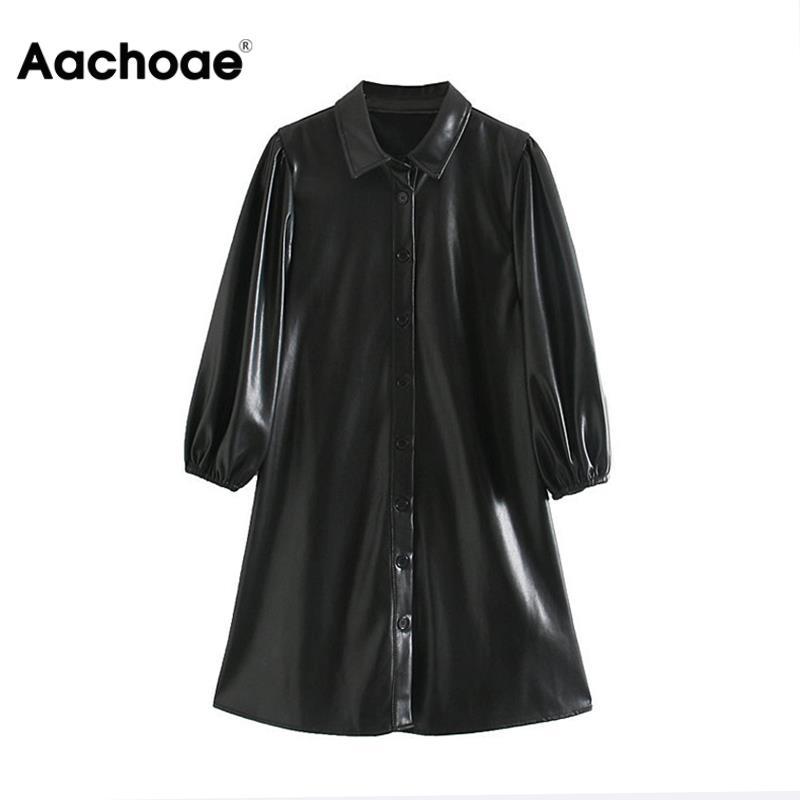 Aachoae Women Black Color PU Leather Mini Dress Lantern Long Sleeve Streetwear Female Dresses A Line Turn Down Collar Sundresses