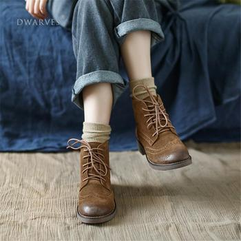 Handmade Brogue Leather Martin Boots Women Midheel Ankle With Lace Coffee/Khaki - sale item Women's Shoes