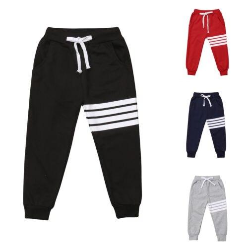 Повседневные детские хлопковые шаровары lioraitiin в полоску для мальчиков и девочек, длинные брюки для малышей, спортивные штаны
