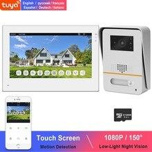 WiFi wideodomofon dla domu bezprzewodowy System domofonowy TUYA Smart IP ekran dotykowy 1080P dzwonek 150 ° słabe światło Night Vision