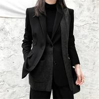 Fashion small suit jacket women blazers winter New high end Leisure design Knitted woolen stitching thickening blazers women
