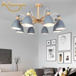 Żyrandol LED do salonu drewniany połysk z żelaznymi abażurami E27 żyrandole styl skandynawski oświetlenie kuchenne oprawy w Żyrandole od Lampy i oświetlenie na