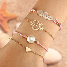 4 Pcs/set Fashion Hollow Lotus Leaves Imitation Pearl Simple Multilayer Gold Color Bracelet Set Women Party Wedding Jewelry