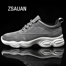 ZSAUAN Suede Leather Spring Winter Men Casual Loafers Lace-up Comfortable Soft Young Trend Sneakers Warm Fur Lined