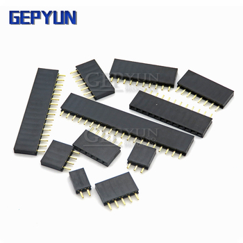 10PCS 2.54MM pitch single row female pin socket 2/3/4/5/6/7/8/9/10/11/12/13/14/40Pin PCB Connector Single Row Mother For arduino image