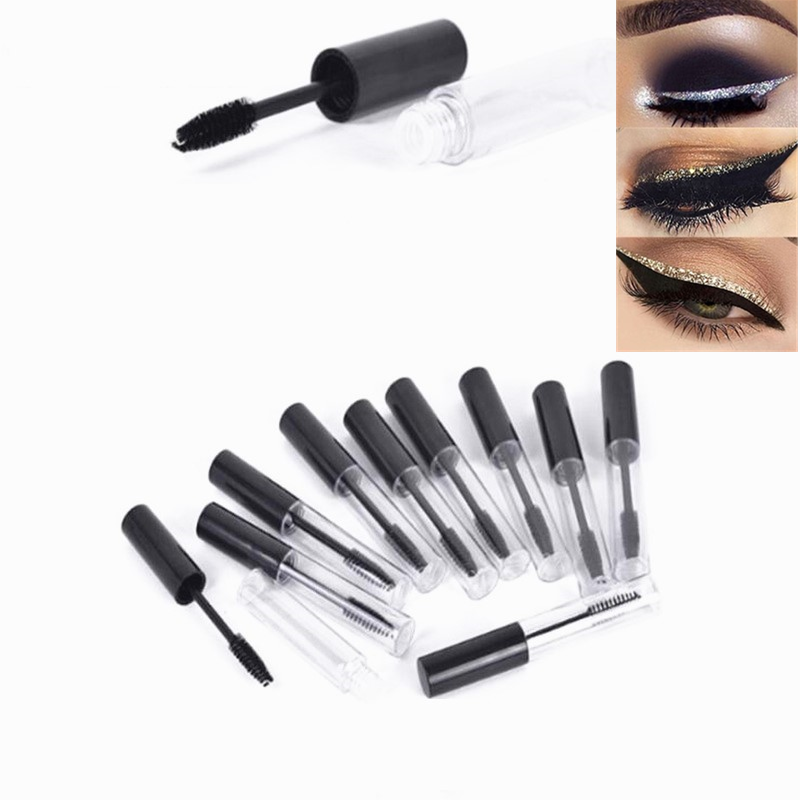 Portable 10mL Beauty Empty Mascara Tube Eyelash Vial Liquid Bottle Container Black Cap Refillable Bottles Makeup Tool Accessorie