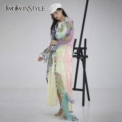 TWOTWINSTYLE, повседневная женская блузка из органзы с принтом, воротник с лацканами, фонарь, длинный рукав, высокая талия, хит, цветная рубашка, же...