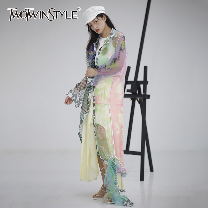 TWOTWINSTYLE Casual Print Organza Women Blouse Lapel Collar Lantern Long Sleeve High Waist Hit Color Shirt Female Clothing Tide