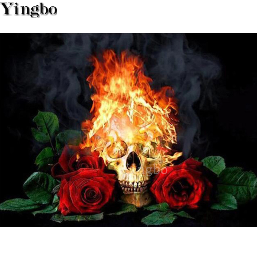 Full Square Round 5D DIY Diamond Painting Flame skull rose art diamond Embroidery Cross Stitch kit Mosaic Rhinestone decor Gift