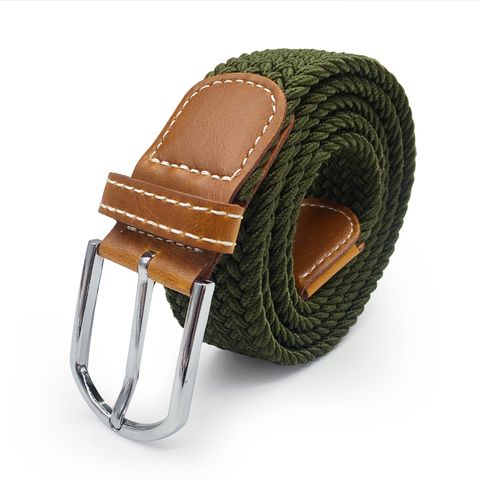 Men Elastic Stretch Waist Belt Black Canvas Stretch Braided Elastic Woven Leather Belt Wide Hot Metal Stretch Belt For Men Multan
