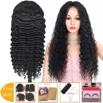 Lanqi deep wave 13x4 lace front wig frontal wig Brazilian hair wigs lace front human hair wigs for women Non-Remy 150% Density alidoremi brazilian deep wave 13x4 lace front wig 100% human hair wigs 8 26inch natural color non remy hair