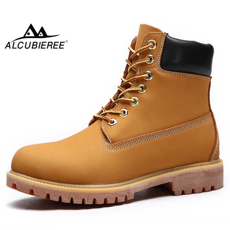 Alcubieree Winter Mannen Antislip Werk Laarzen Split Leather Lace Up Enkel Desert Boot Man Outdoor Warm Combat Laarzen Sneeuw schoenen