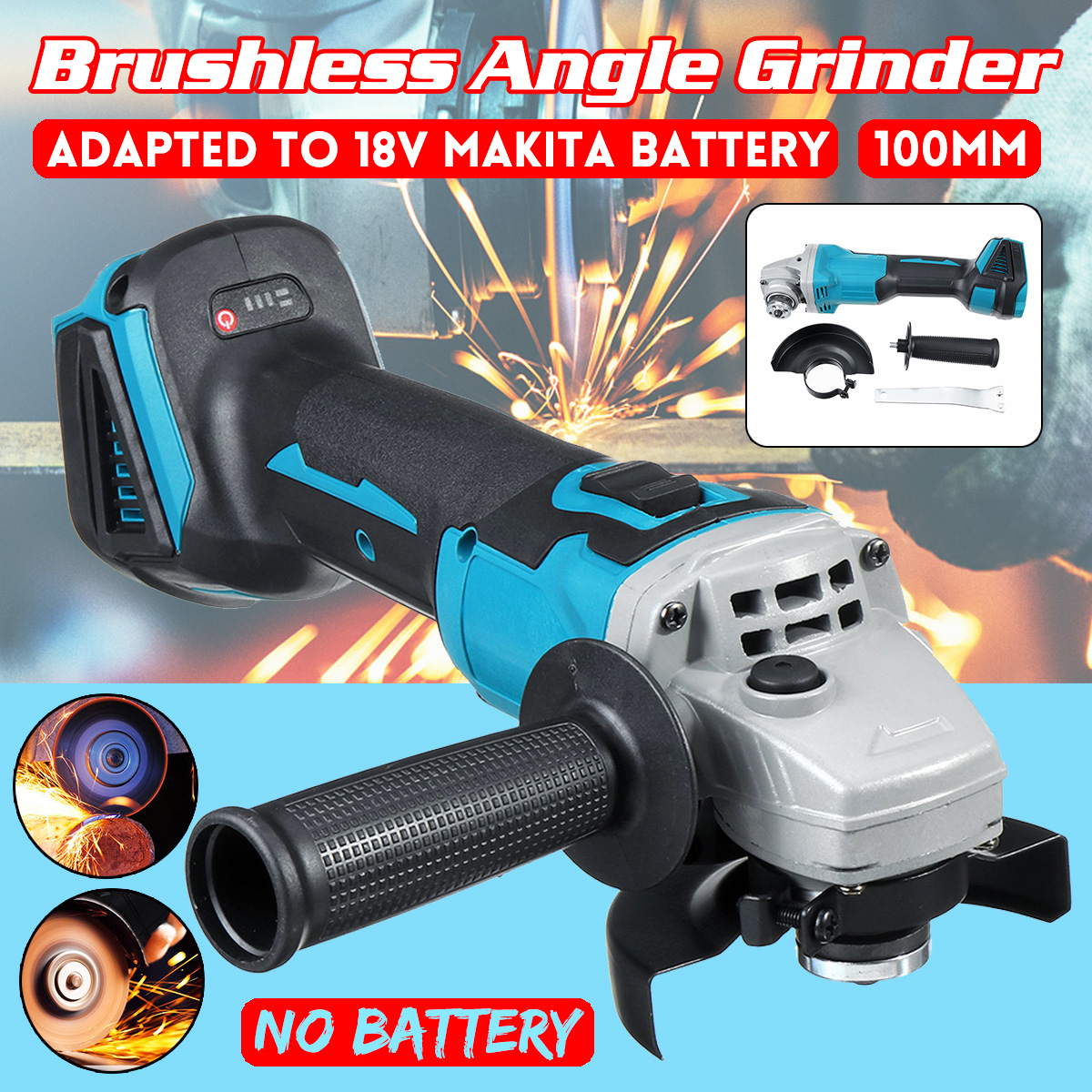 Brushless Electric Angle Grinder 100mm Rechargeable Grinding Machine Woodworking Metal Cutting Power Tool For 18V Makita Battery