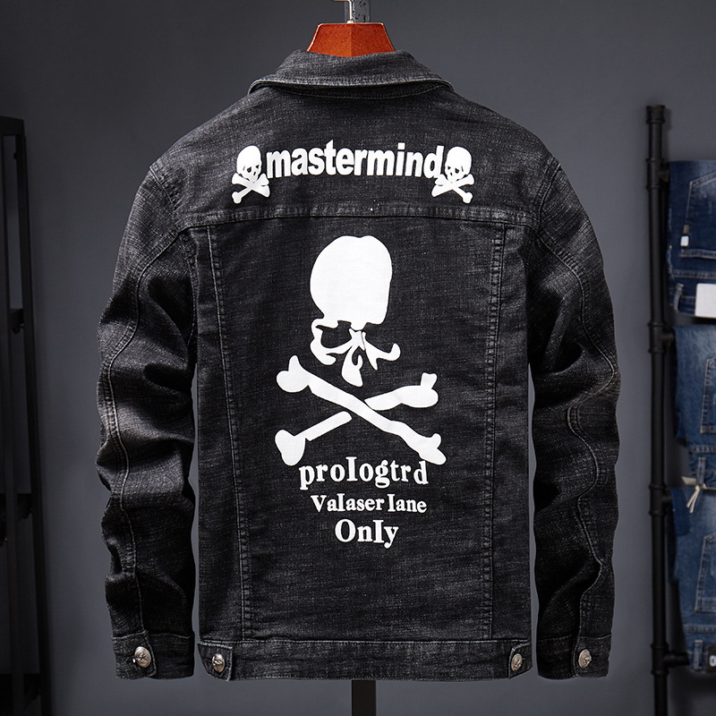 New 2020 Brand Casual Cowboy Embroidery Denim Skull Denim Jacket Men's Jacket Men's Hip Hop Teenagers Bomber Jacket Veste Homme