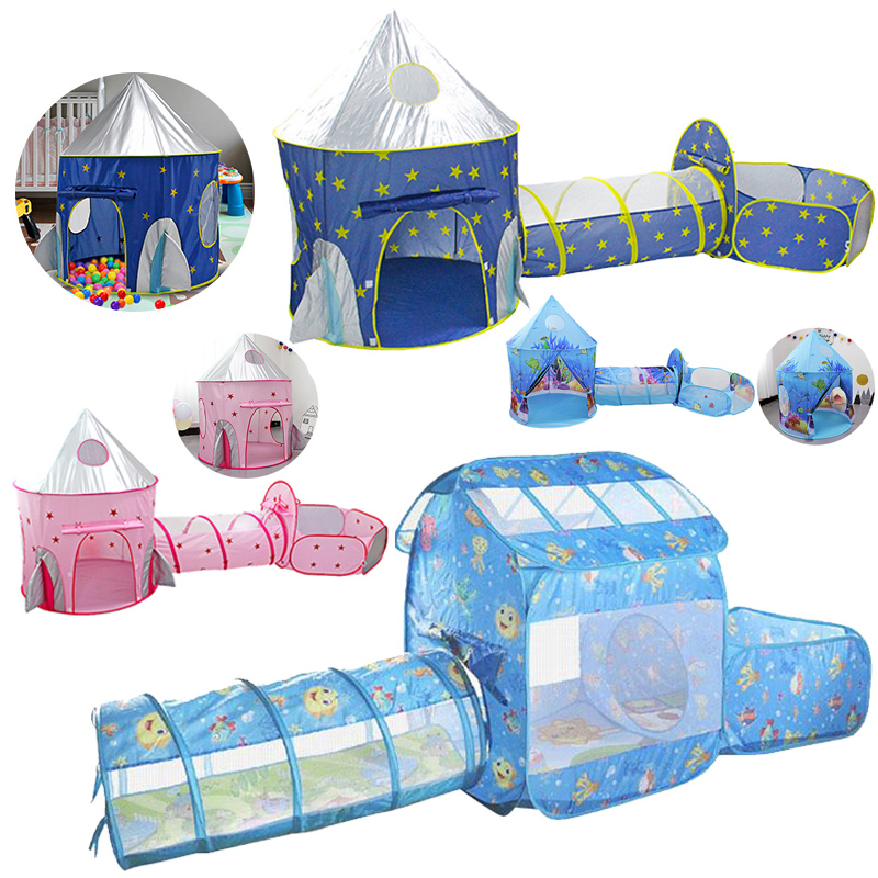 Kids Tent House Play Toys Tunnel Crawling Playhouse Castle Portable Children Ocean Ball Pool Pit Baby Folded Indoor Outdoor Game
