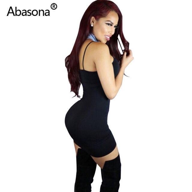 Abasona Sexy Black Bodycon Mini Dress Spaghetti Strap Stretch Summer Women 2020 Night Tight Dresses Party Ladies Casual Vestidos 2
