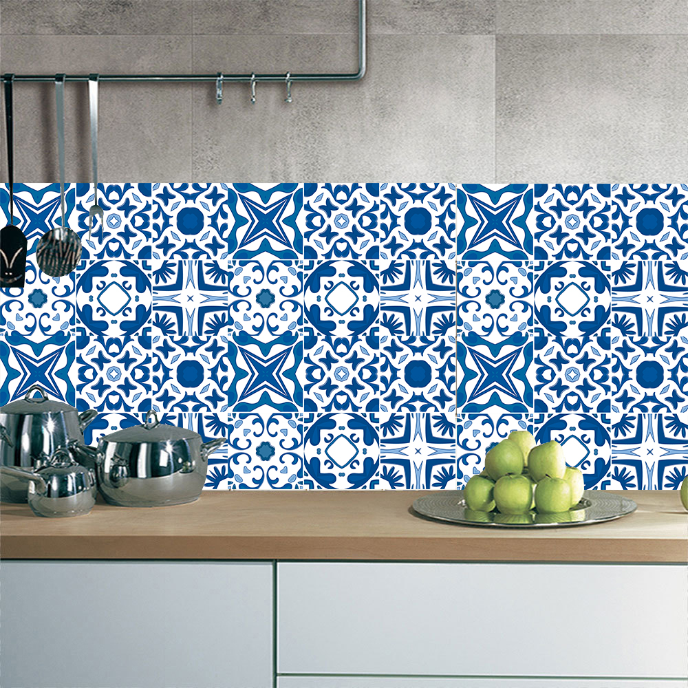 - Mediterranean Abstract Tile Wall Sticker Kitchen Bathroom