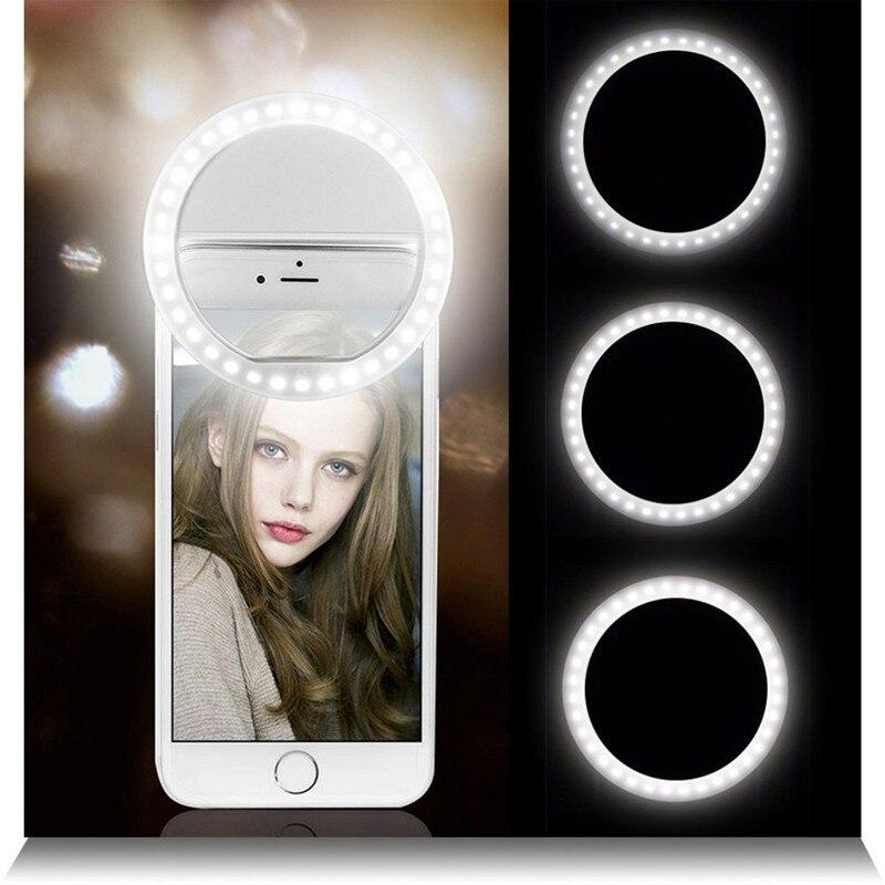 Universal Selfie Lamp Mobile Phone Lens Portable Flash Ring LED Luminous Ring Clip Light For iPhone Huawei Xiaomi Samsung