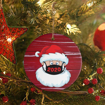 30PC 2020 Christmas Ornament Santa Wearing A Face Mask Decorate Christmas tree Hanging Ornament Pendant рождество navidad image