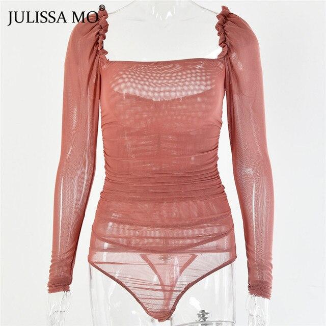 JULISSA MO Black Double Layer Mesh Sexy Bodysuit Women Tops Autumn New Long Sleeve Mid Waist Bodysuits Ladies Bodycon Overalls 8