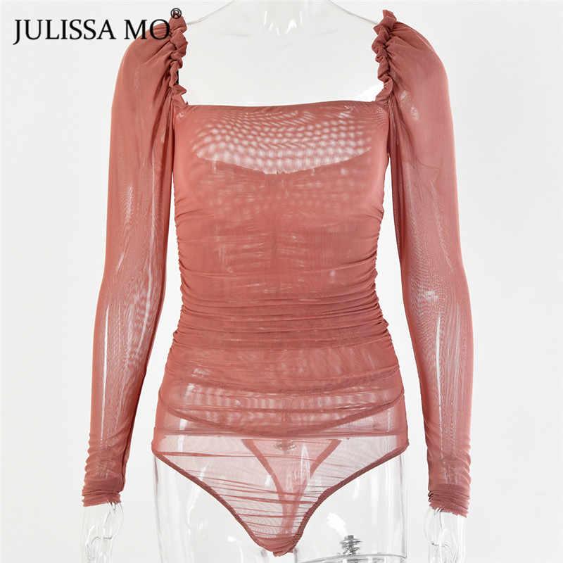 JULISSA MO Zwart Double Layer Mesh Sexy Bodysuit Vrouwen Tops Herfst Nieuwe Lange Mouwen Mid Taille Bodysuits Dames Bodycon Overalls