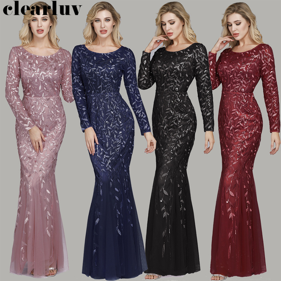 Long Sleeves Formal Dress Long Elegant Women Party Dress HQ008 2020 New Robe De Soiree Sequins Plus Size Mermaid Evening Dresses
