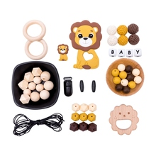 Bite Bites 1Set Baby Silicone Bead Teether Wooden Pendent Ring Rodent DIY Nursing Necklace Bracelet Pacifier Clip Chain Bpa Free