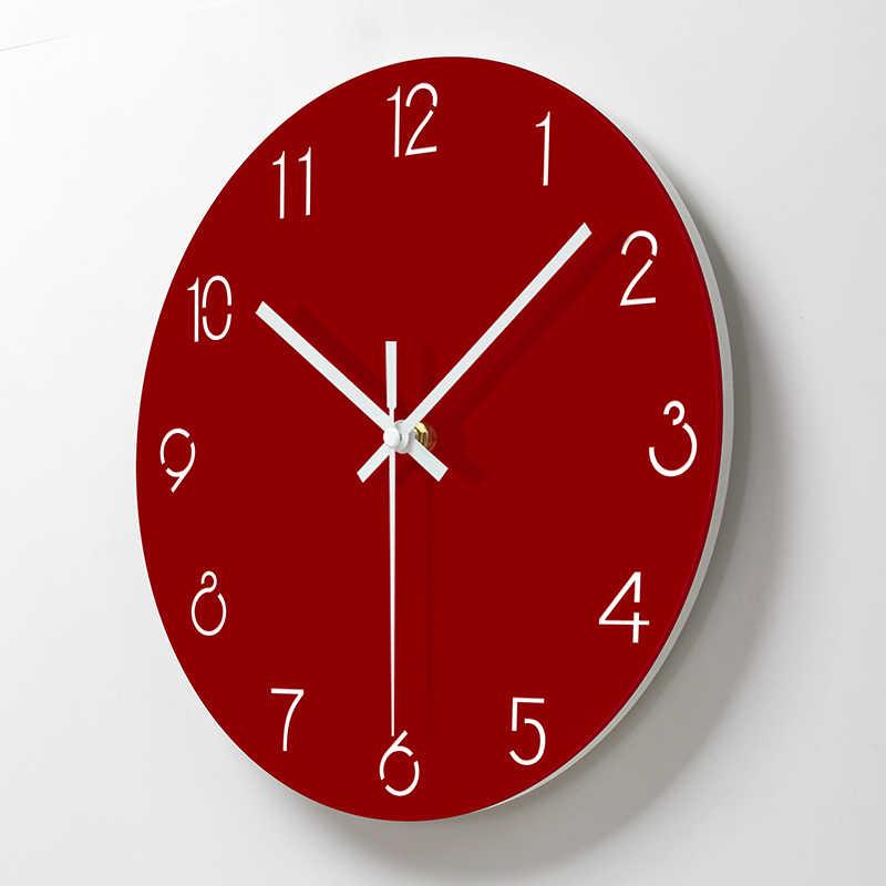 Relojes de pared acrílico Simple decorativo Color rojo Reloj de pared sala de estar silencio cuarzo colgante reloj de diseño moderno decoración del hogar BB50W
