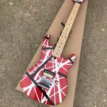 2019 nova linha vermelha e branca guitarra elétrica, pode ser personalizado, livre de frete
