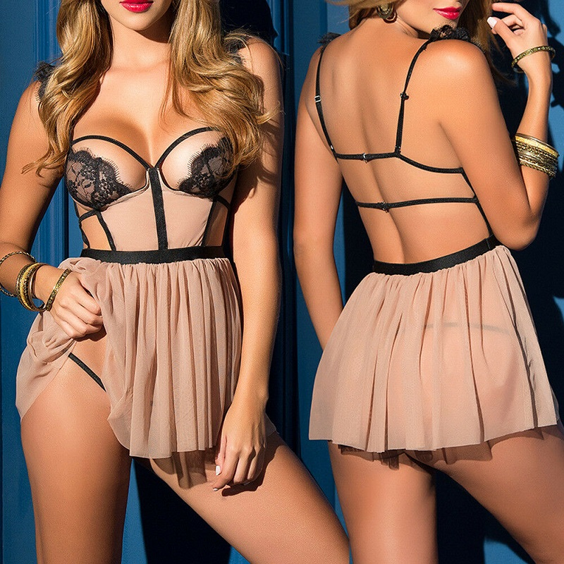 Women Hot Erotic Lingerie Sexy Lingerie Backless Lace Babydoll G-String Open Cup Teddy Underwear Through Sleepwear Thong Porno