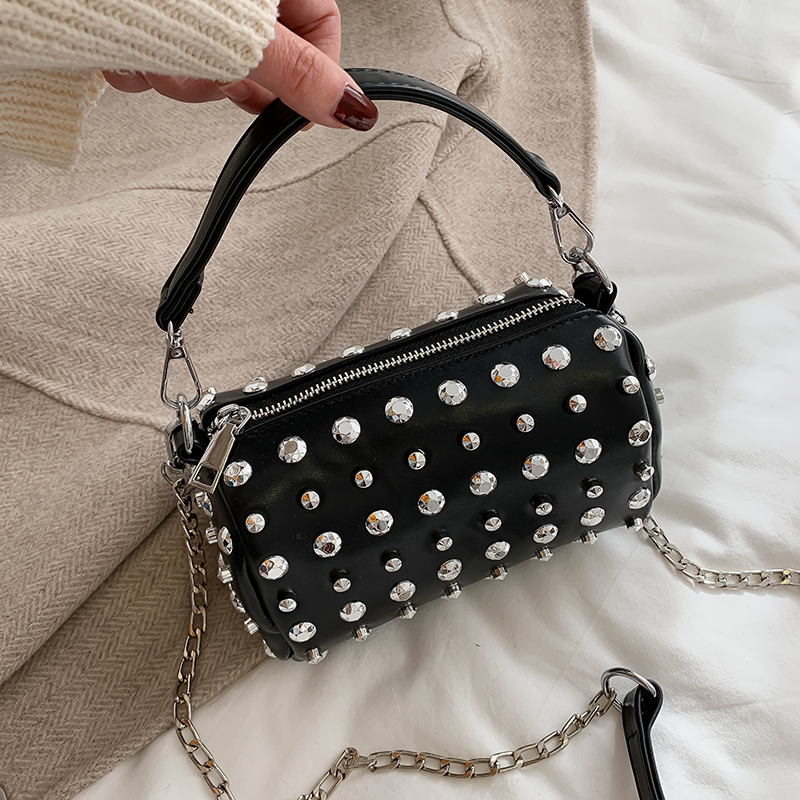 Luxury Rivets Small Flap Handbags Women Bags Designer Women Single Chian Shoulder Message Bag Solid Ladies Purses