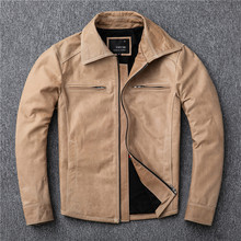 Pakistan oil wax without coating sheep skin leather leather coat lapels man dovetail locomotive leather jacket