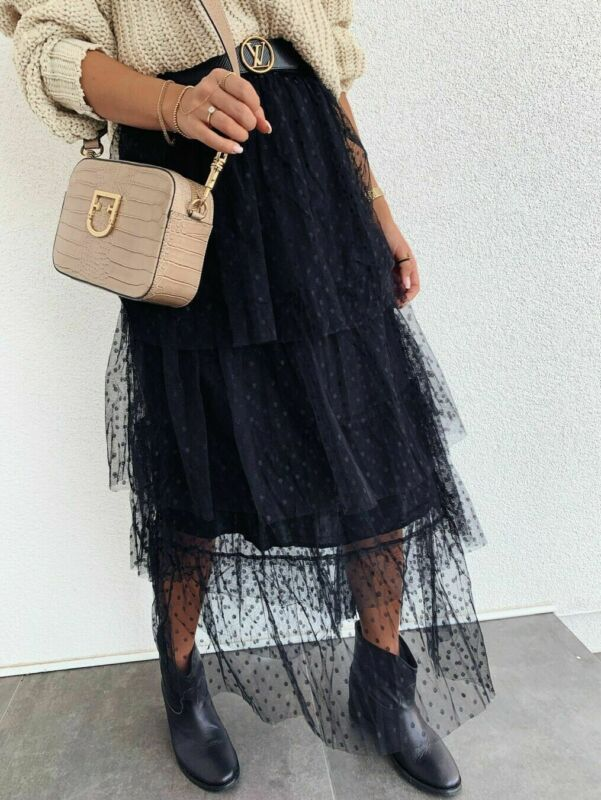 2019 New Prom Summer Fashion Latest Women Sexy Skirt High Waist See-Through Tulle Pleated Dot Transparent Long Maxi Skirt Hot