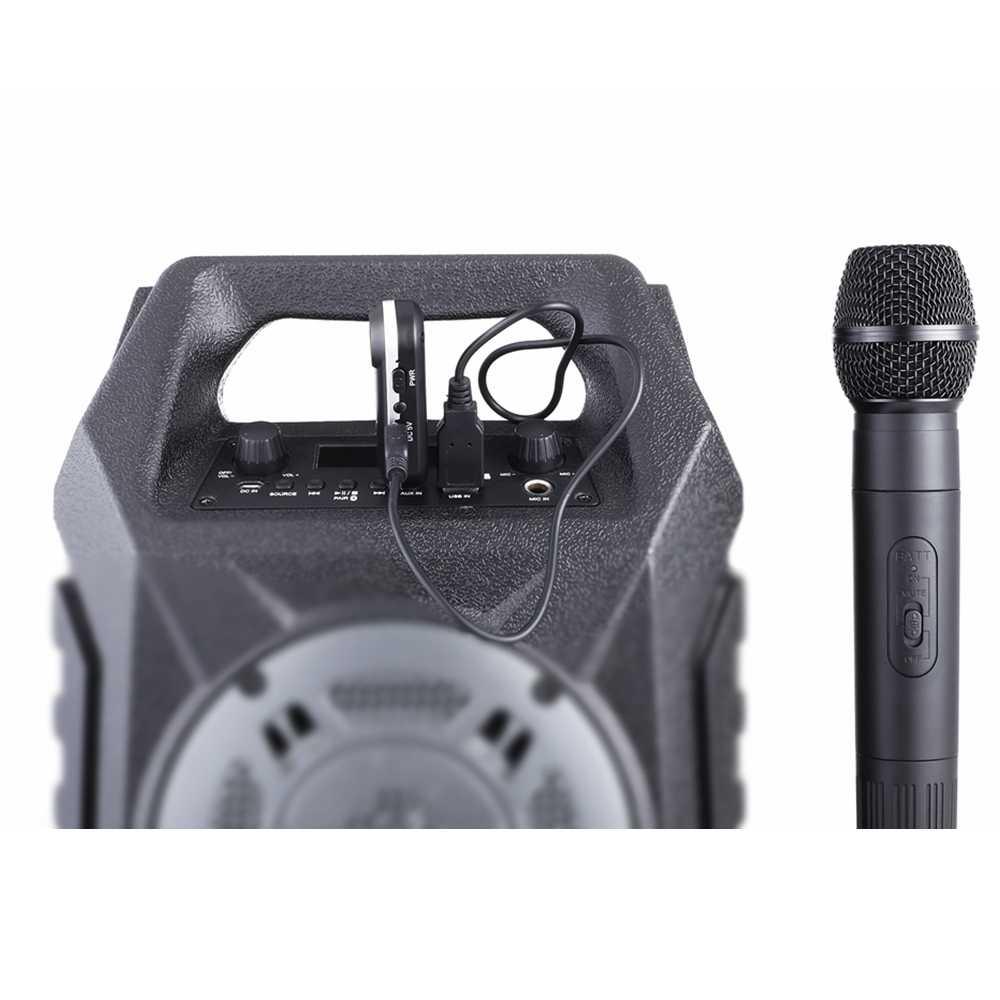 LEORY ワイヤレス UHF ハンドマイク USB メガホンマイク受信機と 3,5 ミリメートル/6,35 ミリメートルのためのカラオケ音声スピーカー新