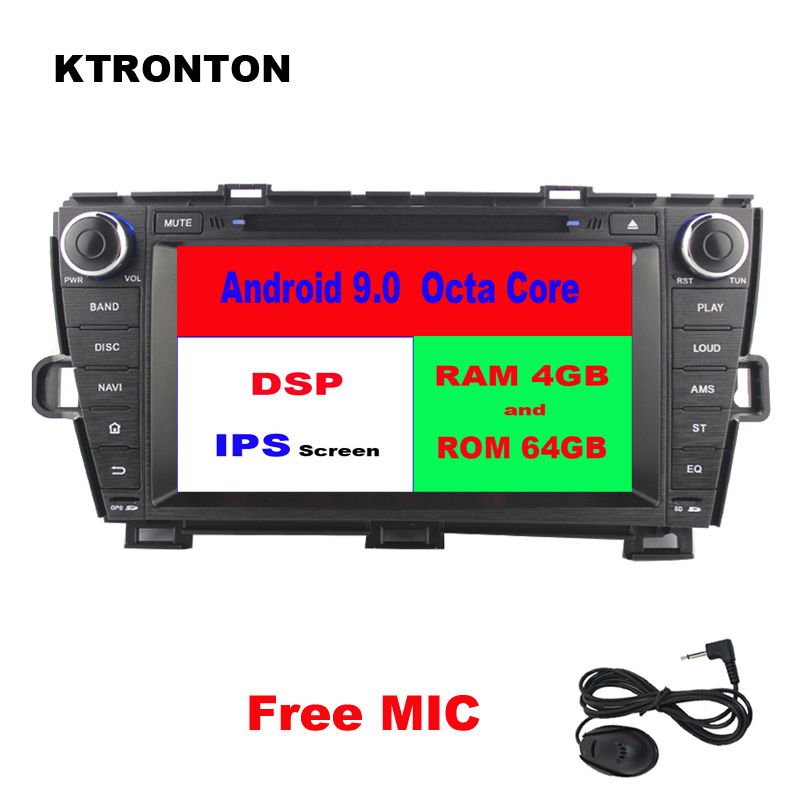 IPS Screen DSP 64GB ROM Octa-core Android 9.0 <font><b>Car</b></font> DVD Player for <font><b>Toyota</b></font> Prius 2009-2013 Left <font><b>Driving</b></font> Radio GPS Glonass Wifi DVR image