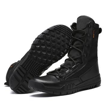 Buty wojskowe męskie buty wojskowe wiosenne letnie buty wojskowe czarny taktyczny brązowy mężczyźni obuwie solidne antypoślizgowe męskie casualowe buty sportowe tanie i dobre opinie Thestron podstawowe Z dwoiny Połowy łydki Stałe SYNTETYCZNE okrągły nosek RUBBER Na wiosnę jesień Niska (1 cm-3 cm)