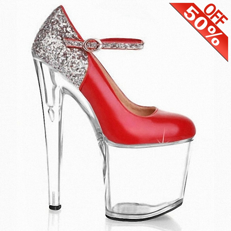 Sexy Mixed colors Flash powder Bling Buckle strap Crystal Thick platform 20cm High heeled shoes 8 inches Pumps Cross dressing Women's Pumps  - AliExpress